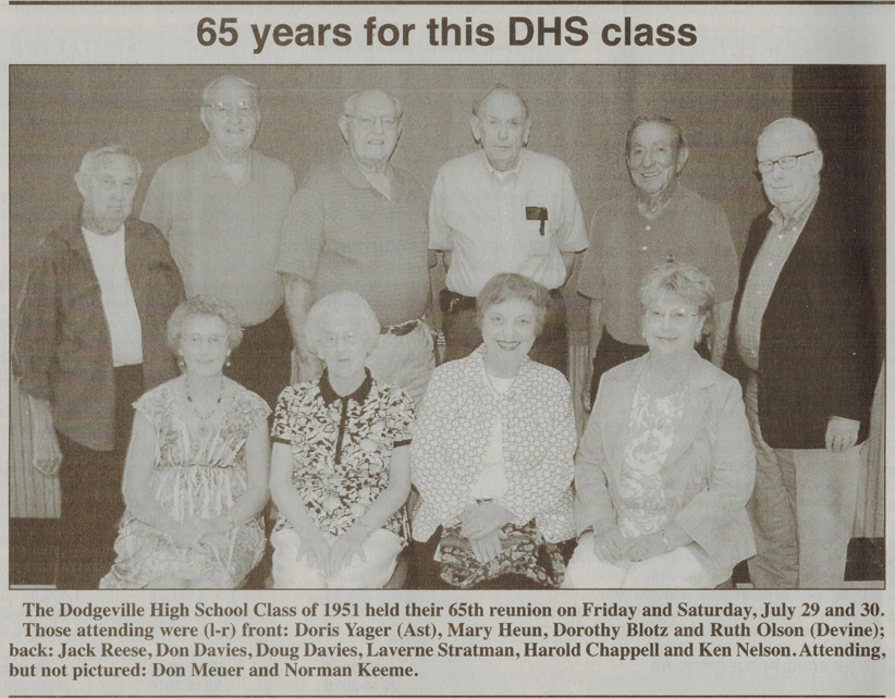 Class of 51 from Dodgeville Chronicle