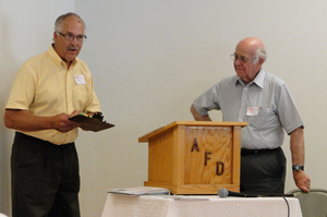 Steve Harrington thanks Dr. Wallace Alcorn for his informative talk on Dr. William H. Brisbane.